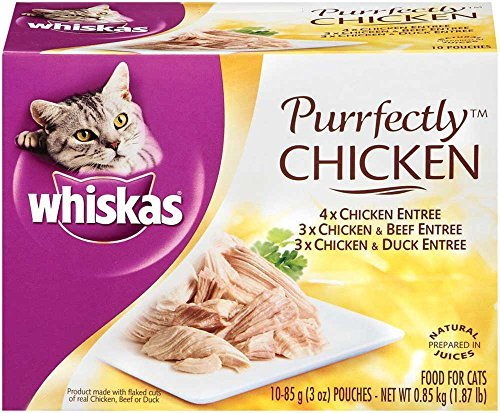 WHISKAS PURRFECTLY Chicken Variety Pack Wet Cat Food 3 Ounces (Four 10-Counts) by Whiskas Wet Food