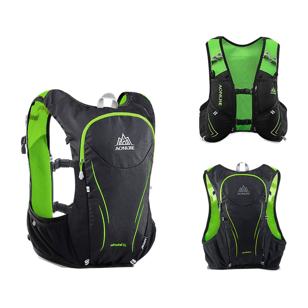 a00d23250860 Amazon.com : AONIJIE Black and Green Outdoor Running Bag Backpacks ...