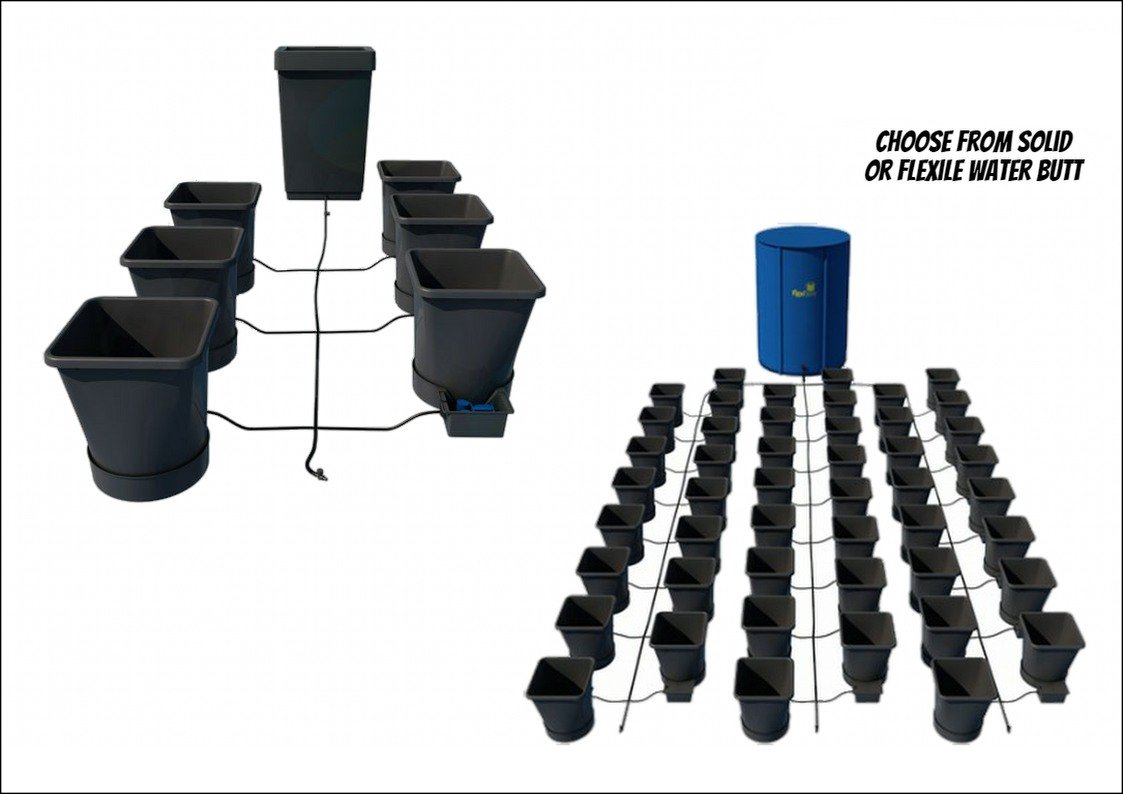 Auto Pot AutoPot Solid Flexible Water Butt Kits Systems Hydroponics 15L Pots (Tank Type: Solid; Tank Size: 47L; Pot Qty: 1)