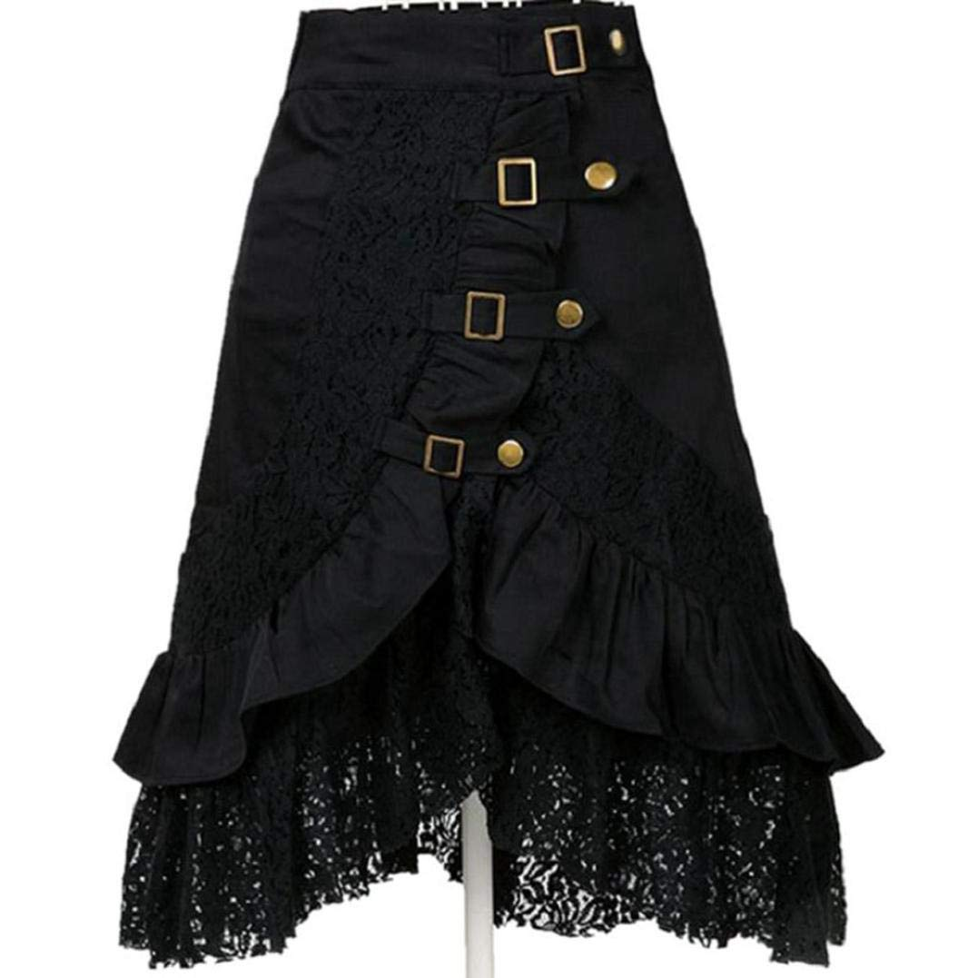 Jinjin Womens Skirt - Retro Lace Steampunk Party Club Wear Punk Gothic Black Skirt