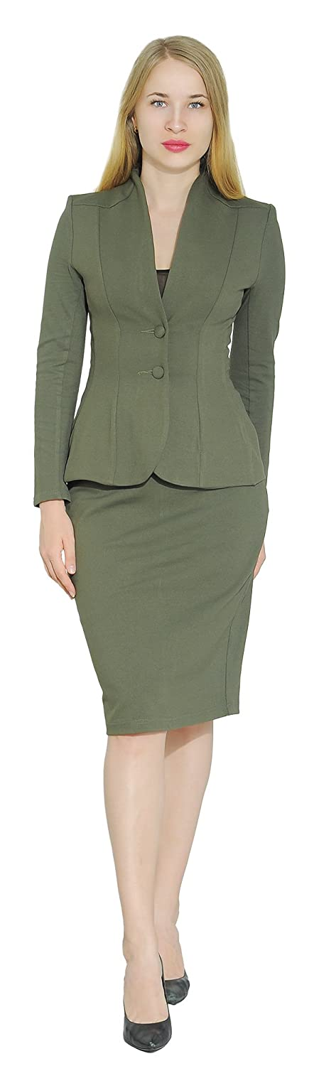 9cf1d01a9 Set of jacket and skirt, made of stretchy ponte de roma fabric, this will  be elegant choice for any office women. The classy top feature 2 button, ...