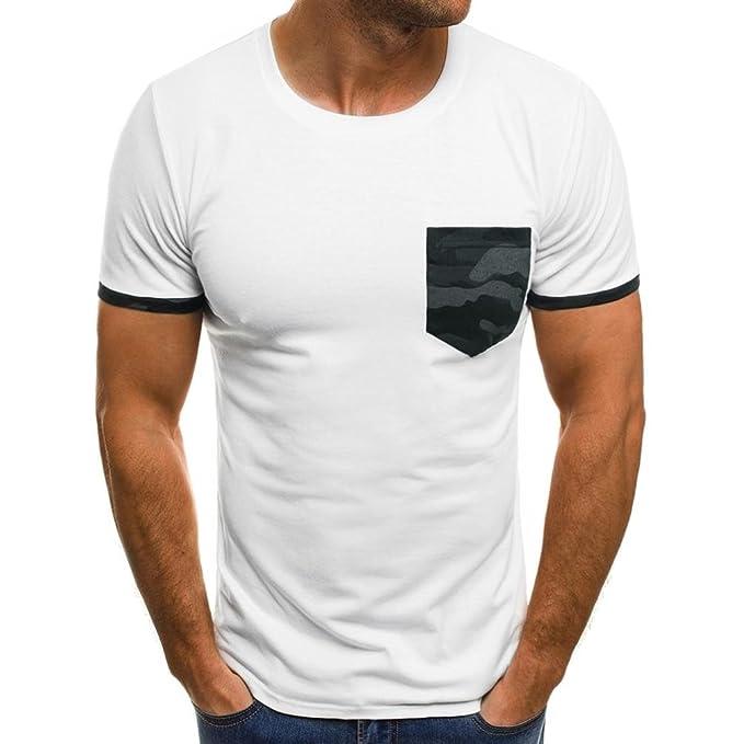 Resplend Camiseta musculosa para Hombre Blusa Delgada de Bolsillo de Camuflaje Manga Corta Casual