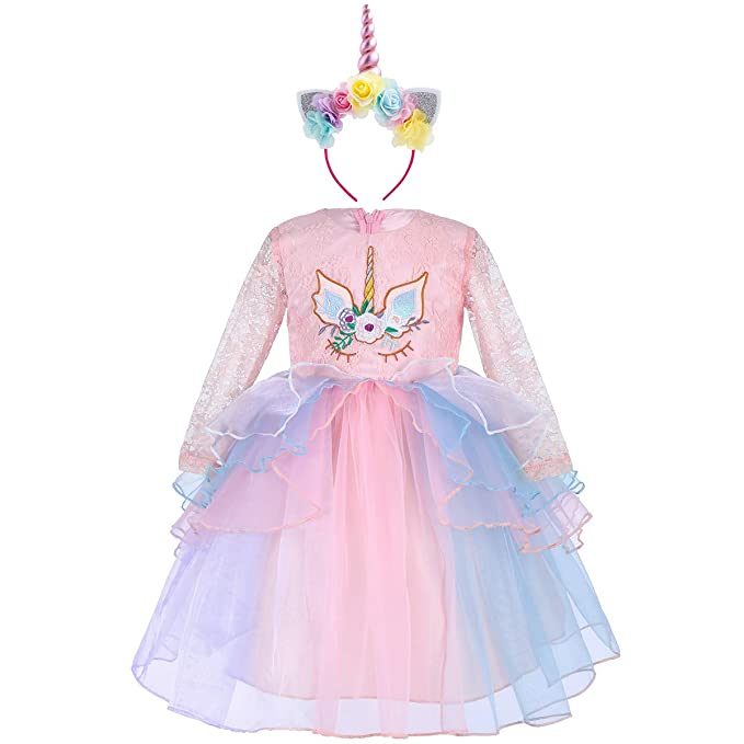1a87a4c724fc8 Baby Girls Princess Unicorn Long Sleeve Tulle Lace Flower Dress Cosplay  Birthday Outfit A-line Pageant Dance Gown