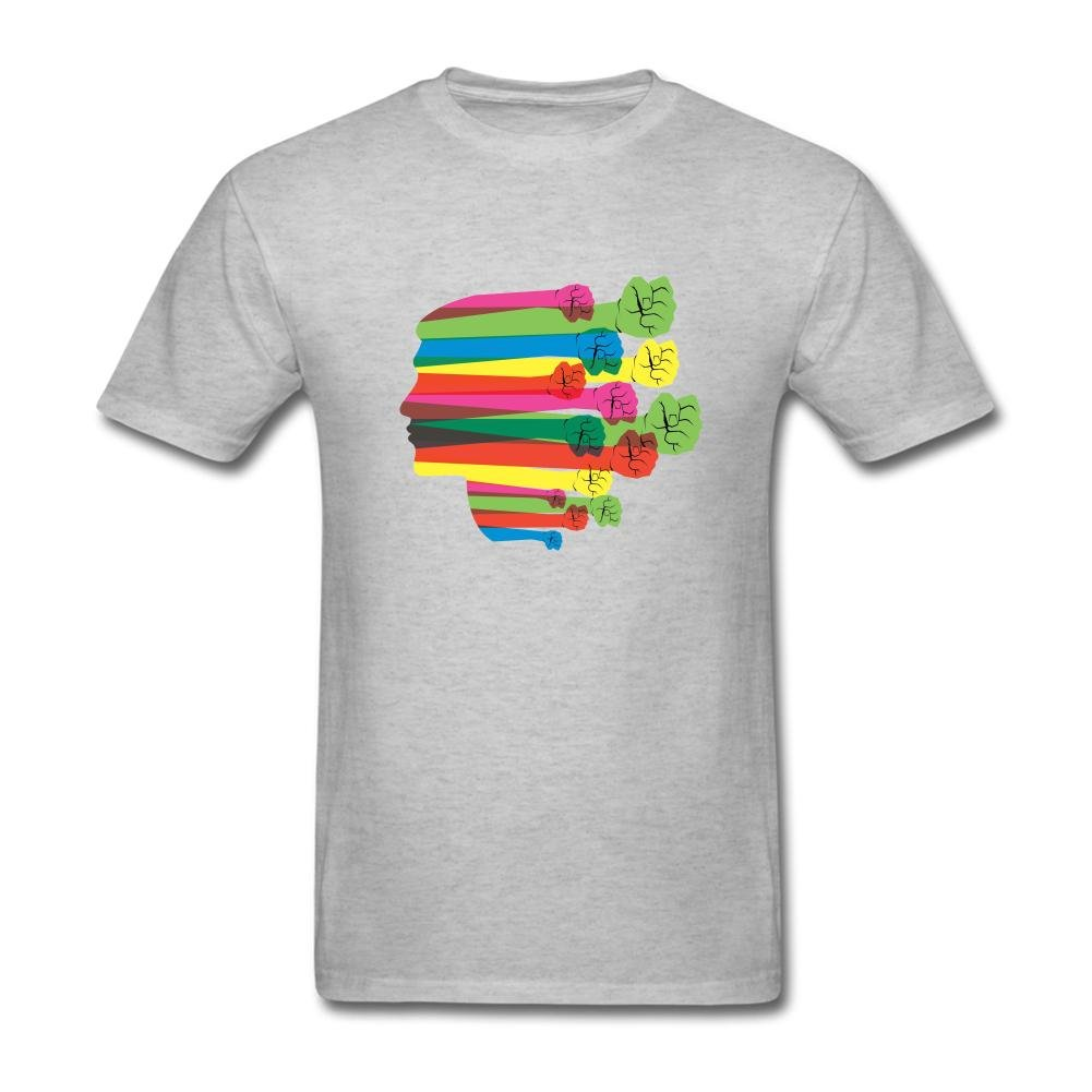 Heerinsy Men's Colorful Hand Men Face Color Short Sleeve T-Shirt S