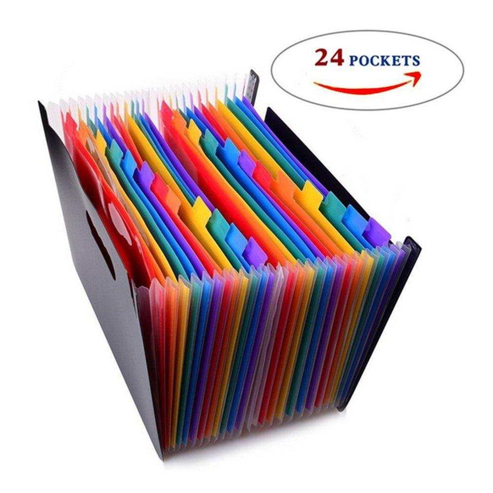 24 Pockets Multicolour High Capacity Expanding Files Folder Portable Accordion Document Folder Plastic A4 Business Organizer Bag by small homeware