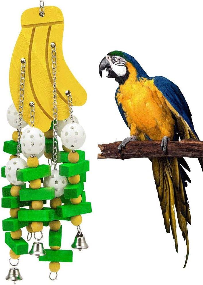ZWW Juguete para Pájaros, Juguete Mordedura De Loro Colgante Color Madera Juguete Forma De Plátano Accesorios De Jaula De Pájaros para Loros Medianos Grandes