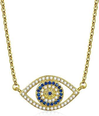Kaletine Blue Evil Eye Pendant Necklace Sterling Silver 925 Cubic Zirconia CZ Chain Adjustable 16 17 18