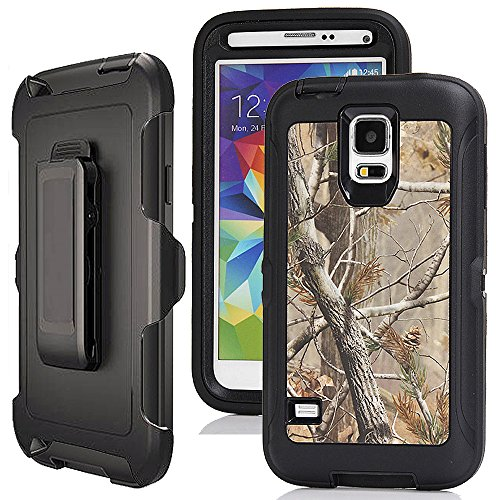 Galaxy S5 Case Camo,Harsel Defender Holster Heavy Duty Shockproof Dropproof Tree Design 3 layer Durable Protection Case w/ Clear Screen Protector & Belt-clip for Samsung Galaxy S5 (Tree Black)