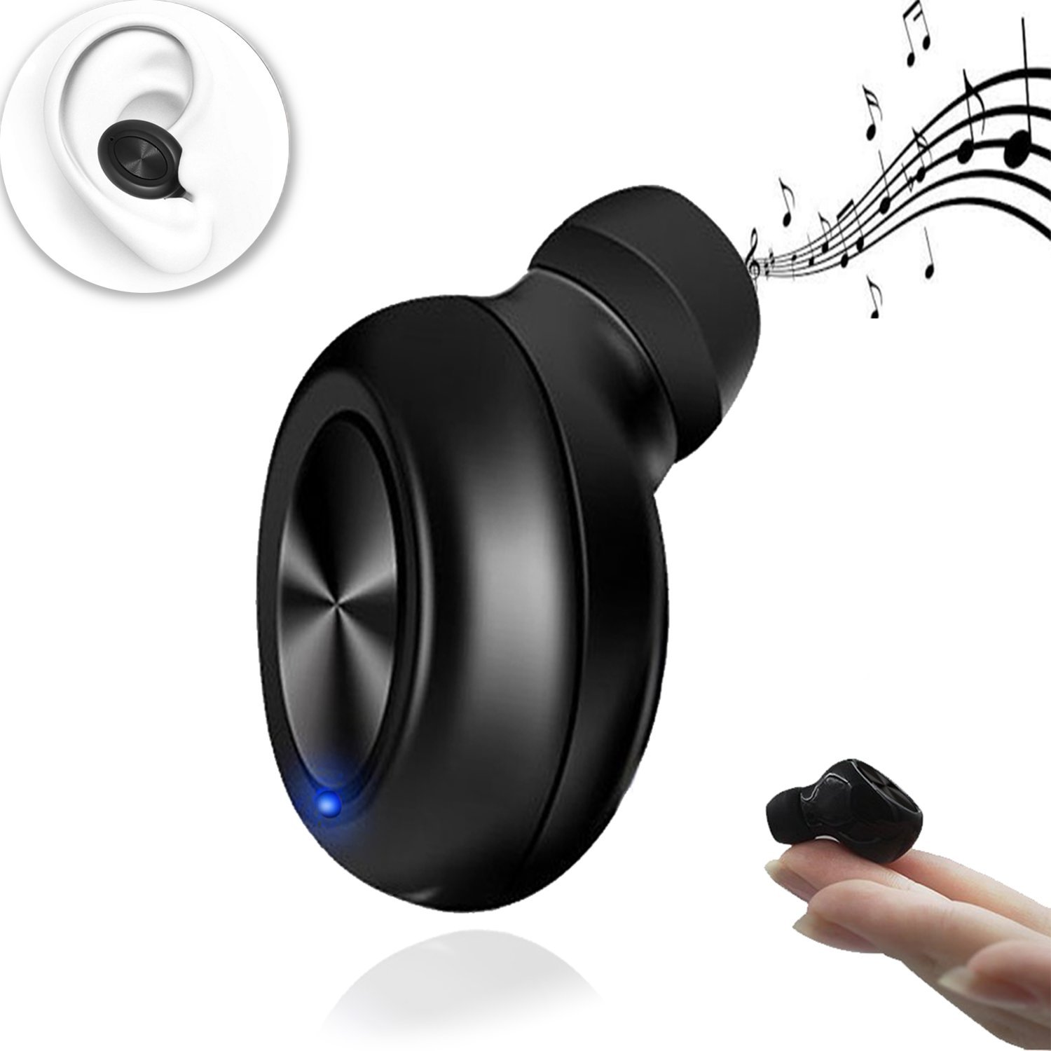 Bluetooth Earbud Best Earphone mini-s Smallest Earpiece Wireless Invisible Headphone with 6 Hour Playtime Car Headset with Mic for iPhone and Android Smart Phones Bluetooth headset earbud phones