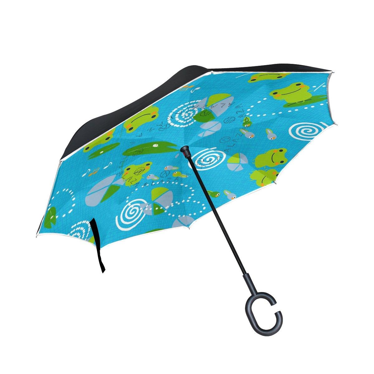 2c329295498e 60%OFF ALAZA Inside Out Folding Cute Frog Tadpoles Inverted Umbrella ...
