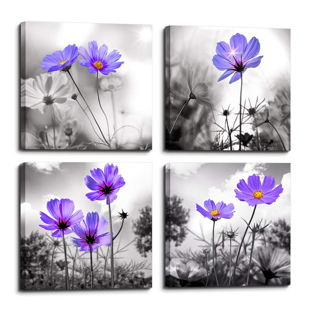 Wall Art For Living Room Black And White Purple Flower Canvas Decor
