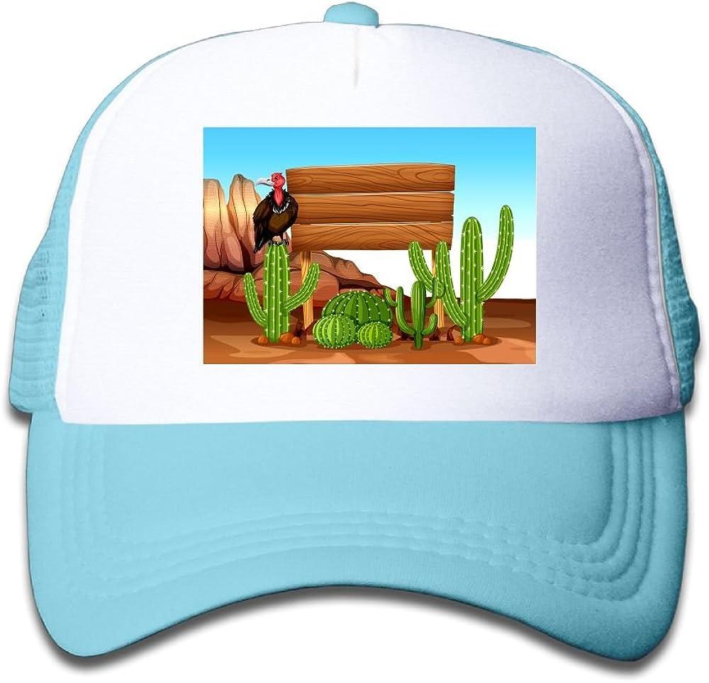 Usieis Kids Cap Wooden Sign with Cactus and Vulture Mesh Cap Dad Cap Baseball Cap Adjustable Trucker Cap for Boys/&Girls