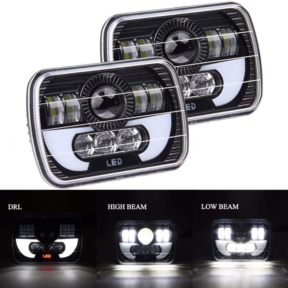 TOOGOO 55W 7X6 Inch 5X7 Inch Led Projector Headlight Hi-Lo Beam Halo Drl For Jeep Cherokee Xj