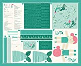 Coral Queen of the Sea DIY Cut & Sew Mermaid Cotton Print Panel Moda