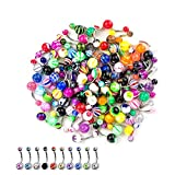 60 Pieces Lot of 10pc Double Gem Belly Button Ring and 50 pcs Mix Assorted Colors Piercing Jewelry Rings