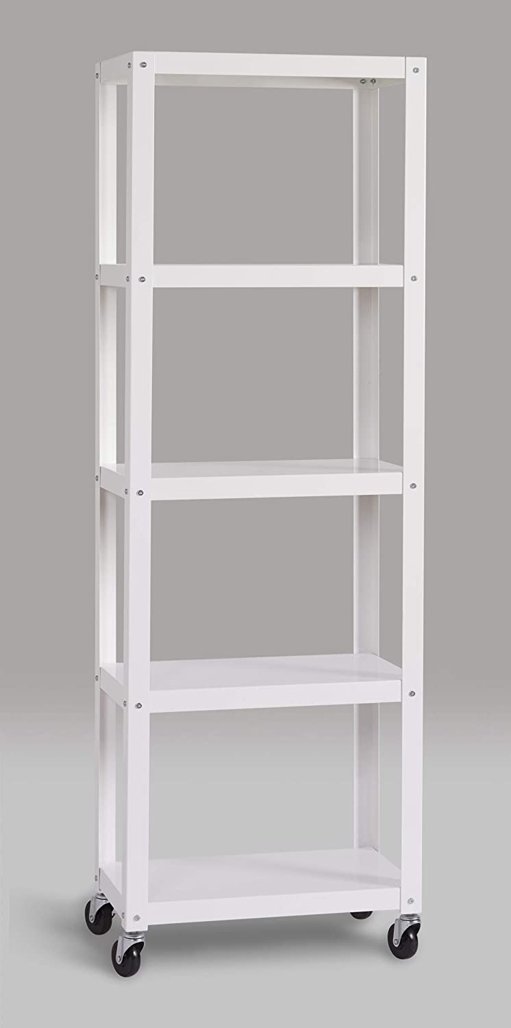 Space Solutions 21753 Home Office Collection Mobile Metal Bookcase, 72 x 24 x 14 , White