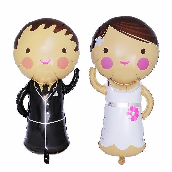 6 opinioni per TOYMYTOY Palloncini Coppia di Sposi in Foil per decorazioni matrimonio 2 PEZZI