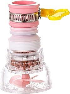 Kitchen Faucet Water Purifier,720° Rotating Telescopic Sprinkler ,Universal Splash Filter Faucet Extender,Faucet Sprayer Attachment for Granular Impurities(Pink)