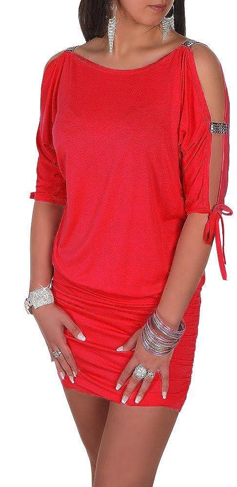 Glamour Empire Damen Tunik Top mit Armschlitz Mini-Kleid Schwarz Partykleid 157