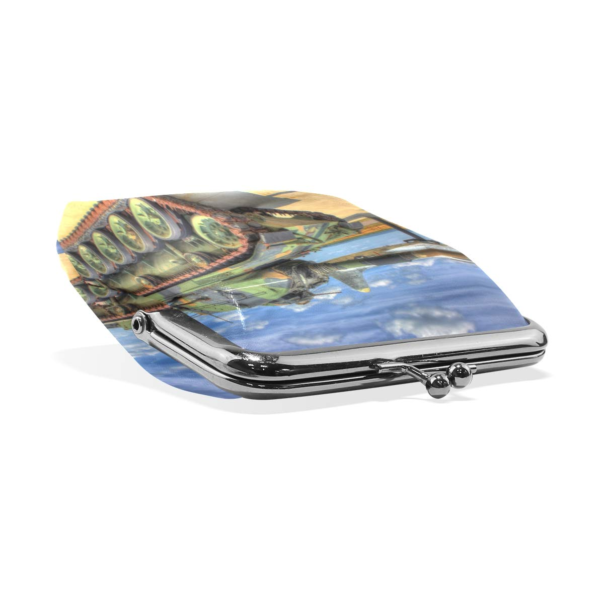 CLveg Military Tank PU Leather Coin Purse Card Package Wallet for Women Metal Button