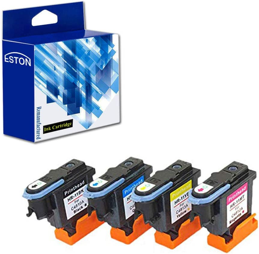ESTON Remanufactured Print Head Replacement for HP 11 Printhead for HP Designjet 70 90 100 110 500 510 500ps 800ps 9110 K850 (Black Cyan Magenta Yellow) 4 Pack