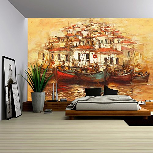 Island Canvas Sunset Outdoor (wall26 - Boats on the Island Harbor,Handmade Oil Painting on Canvas - Removable Wall Mural | Self-adhesive Large Wallpaper - 100x144 inches)