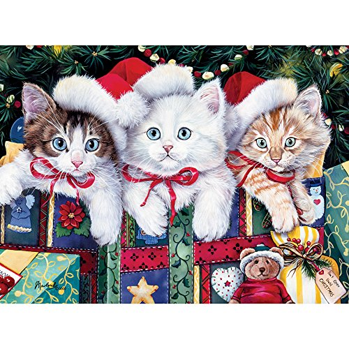 Bits and Pieces - 1000 Piece Jigsaw Puzzle - Meowy Christmas - 1000 pc Cat, Kitten, Holiday, Winter Jigsaw by Artist Jenny Newland ()
