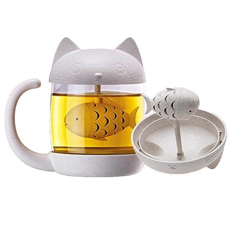 Romote Taza de té infusor, Gato Taza de Cristal de Pescado con el tamiz de