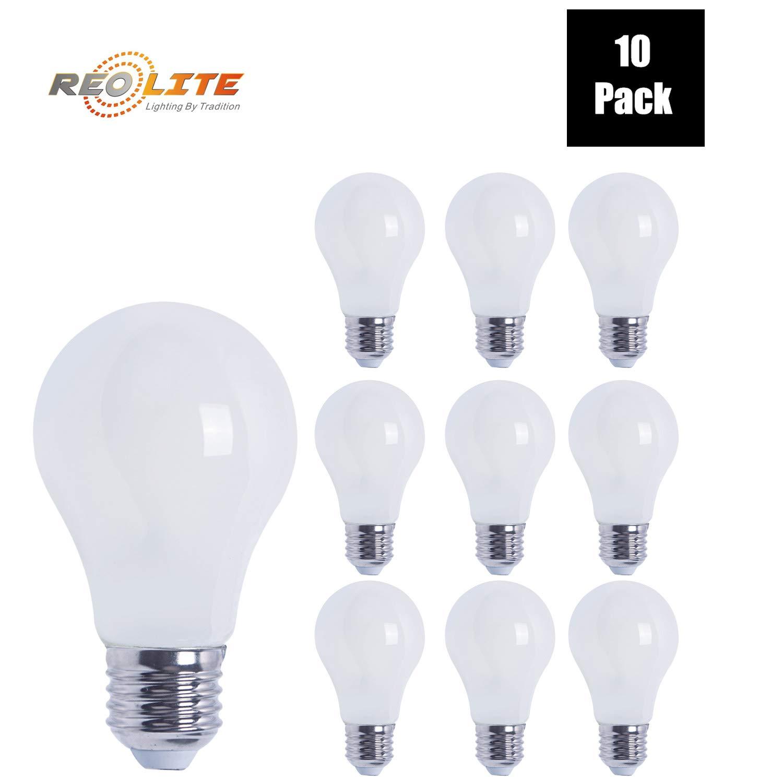 A19 LED E26ベース電球 すりガラスクラシックスタイル 8W - 60W交換用 エネルギースター&UL規格 調光機能付き 4100Kクールホワイト 800ルーメン 10個パック B07L5ZBC8R