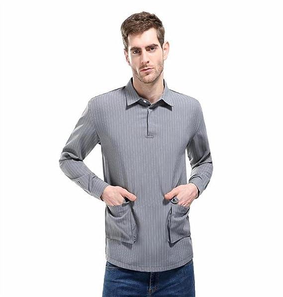 Zezkt Herren Casual Regular Fit Hemdkragen Lange Armel Streifen