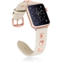 Whlihusu Leather and Metal Rivet Watch Band for Apple Watch