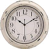 jomparis Antique Beige White Rustic Wall Clock Vintage Decorative Wall Clock Silent Non-Ticking Battery Operated Quartz…