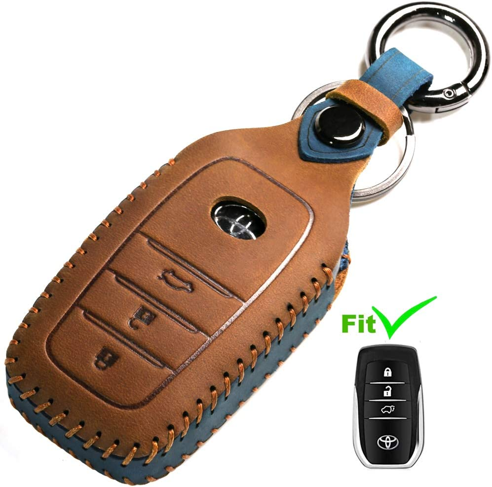 Dedicated Car Key Fob Cover Suit for Keyless Remote Control for 2017-2020 Toyota RAV4 Toyota Camry Corolla C-HR Highlander Tacoma Highlander 4Runner Tundra Prius etc A Style, Brown