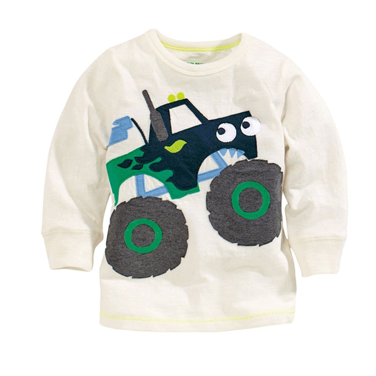 Mammybaby Baby Boy/Toddler/Kid's Long Sleeve T-Shirts Truck White Size 4T by Mammybaby