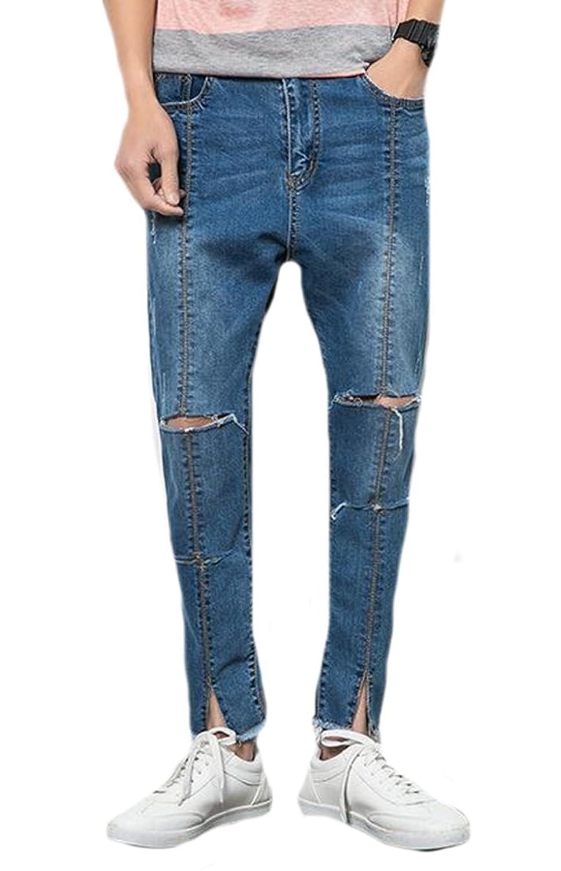 Oberora Men's Premium Distressed Denim Straight-Leg Regular Fit Jean