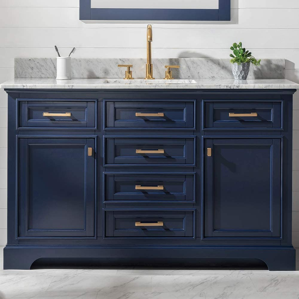 Amazon Com Luca Kitchen Bath Savanna 54 Single Bathroom Vanity Set In Midnight Blue With Carrara Marble Top And Sink Home Improvement