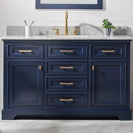 Amazon Com Luca Kitchen Bath Savanna 54 Single Bathroom Vanity Set In Midnight Blue With Carrara Marble Top And Sink Home Improvement