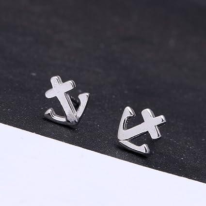 6f59aabb57bd9 Amazon.com: fashion anchor shape design 925 sterling silver stud ...