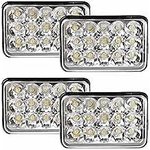 4 pc BearClaw kit 4x6 C LED Headlights Bulb for Peterbilt Kenworth Freightliner Rectangular replacement h6054 H4 H4651 H4652 H4656 H4666 H6545 lens