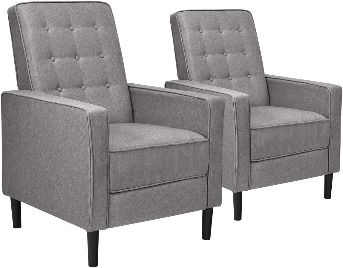 Giantex Set of 2 Push Back Recliner Chair, Modern Fabric Recliner w Button-Tufted Back, Accent Arm Chair for Living Room, Bedroom, Home Office Grey