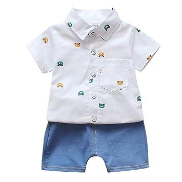 3cad5866f46d9 Lovely Toddler Baby Boys Shorts Set Bear Print T-Shirt Tops+Denim Short  Pants