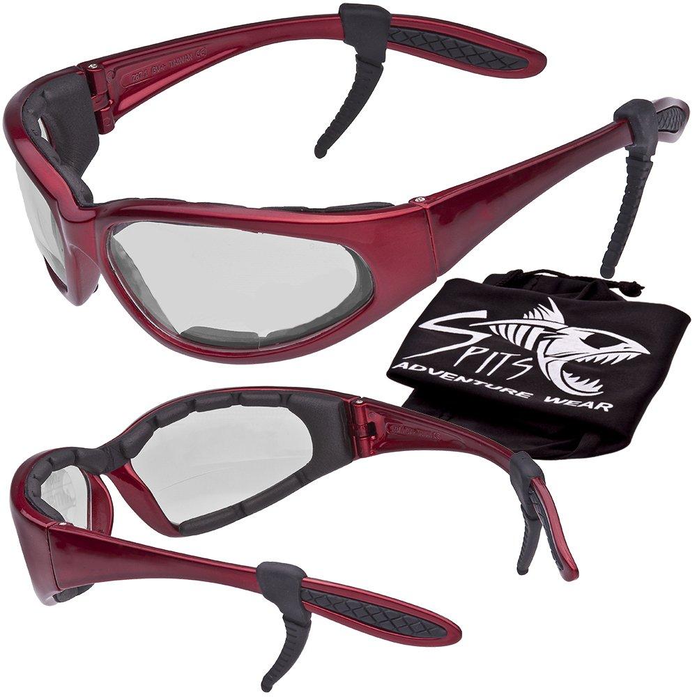Hercules Safety Glasses ''Plus'' - Foam Padded - Rubber Ear Locks - RED Frame - CLEAR Lenses
