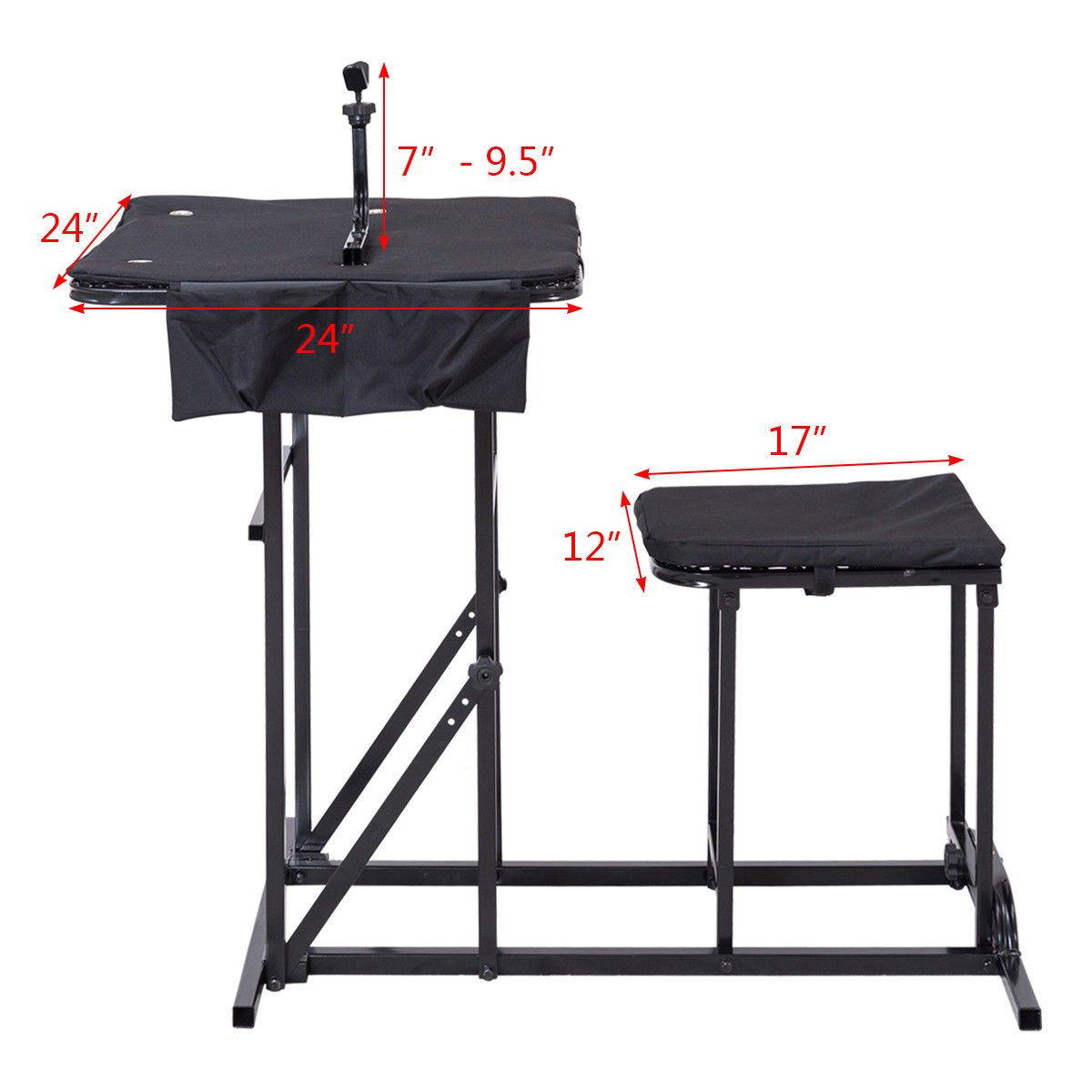 Folding Shooting Bench Seat with Adjustable Table Gun Rest Height Adjustable by BUY JOY (Image #8)