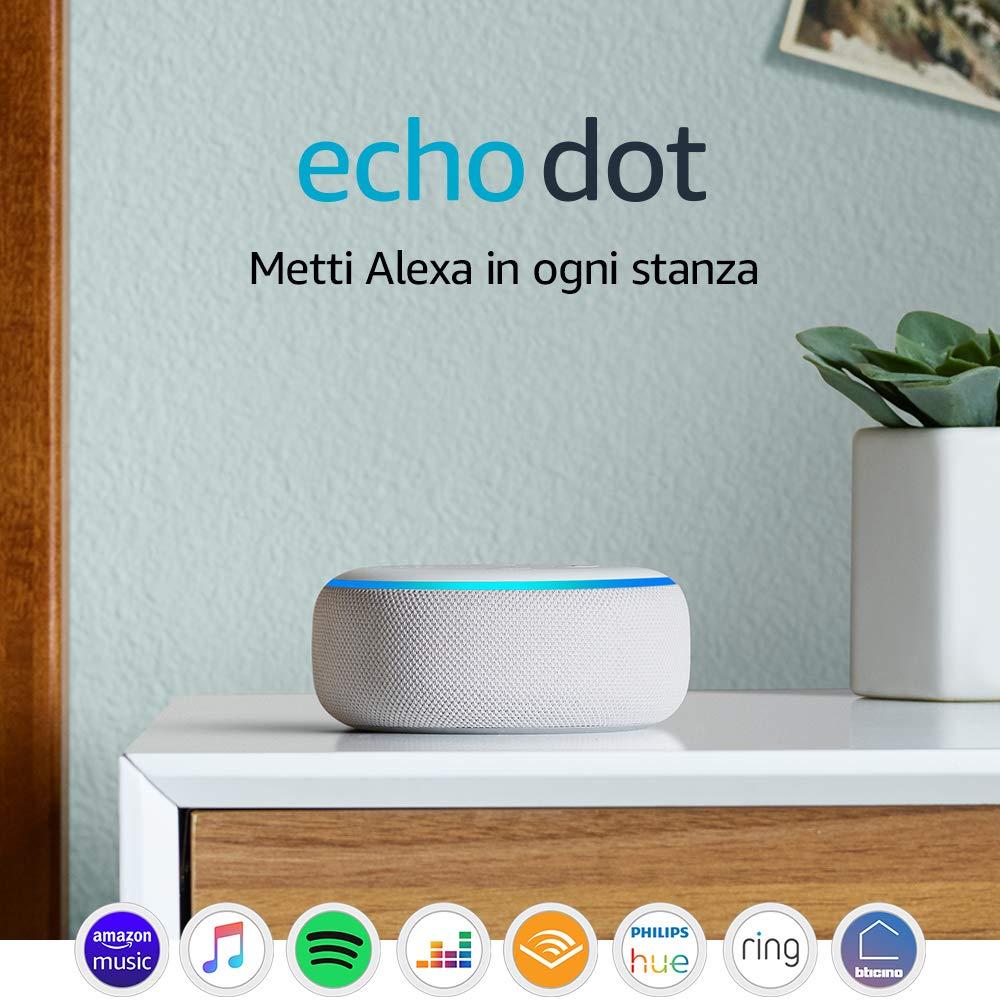 Echo Dot (3� generazione) - Altoparlante intelligente con integrazione Alexa - Tessuto grigio chiaro: Amazon.it