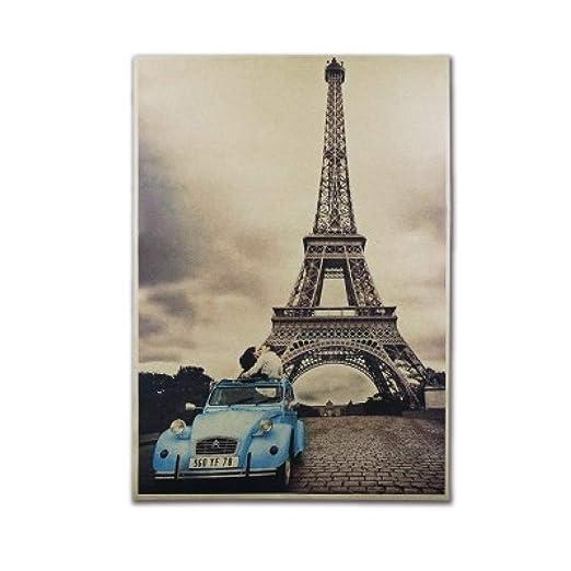 Beso Bajo La Torre Eiffel Vintage Cartel De Papel Kraft ...