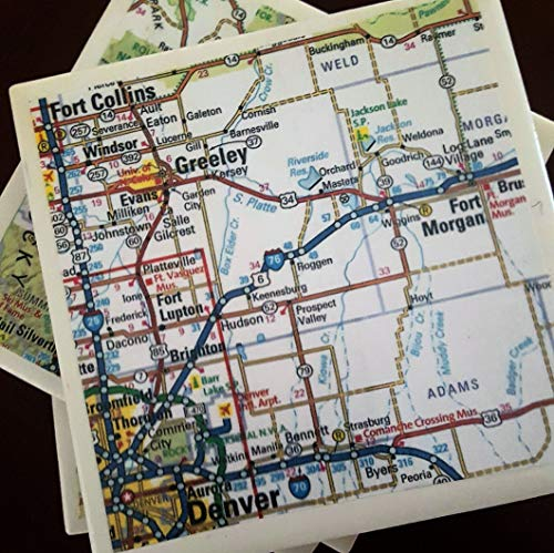 Denver Colorado Road Map Coasters (Map Of Denver Colorado And Surrounding Areas)