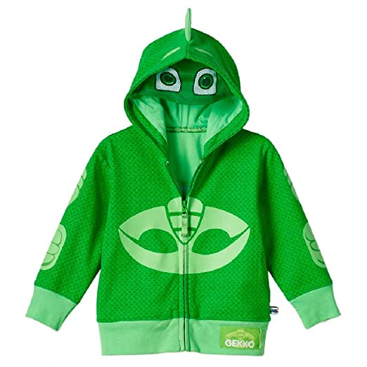 GRACES Toddler Child Animated Show PJ Gekko Green Zip-Up Costume Hoodie (Size 6