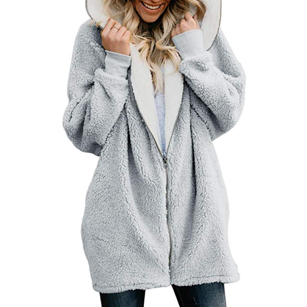 OFEFAN Womens Solid Oversized Zip Down Hooded Fluffy Coat Cardigans Outwear Pockets