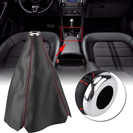 Car Auto Universal Bright Black PU Leather Replacement Gear Shift Knob Cover Red Stitch Gear Gaiter Boot Covers SHINEAB STORE