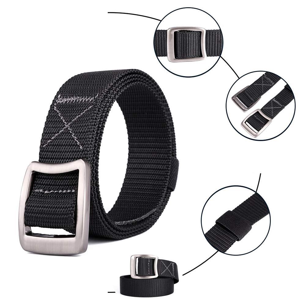 ZEVONDA Unisex Tactical Belt Nylon Outdoor Elastic Webbing Canvas Waist Belt